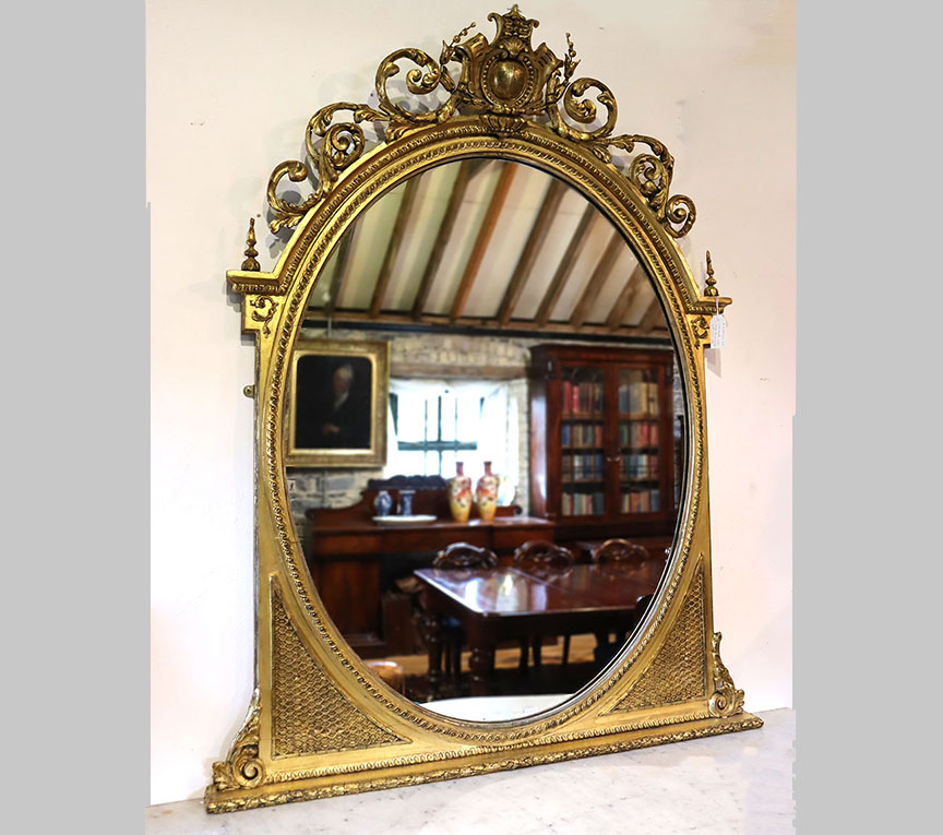 19th Century Oval Gilt Overmantle