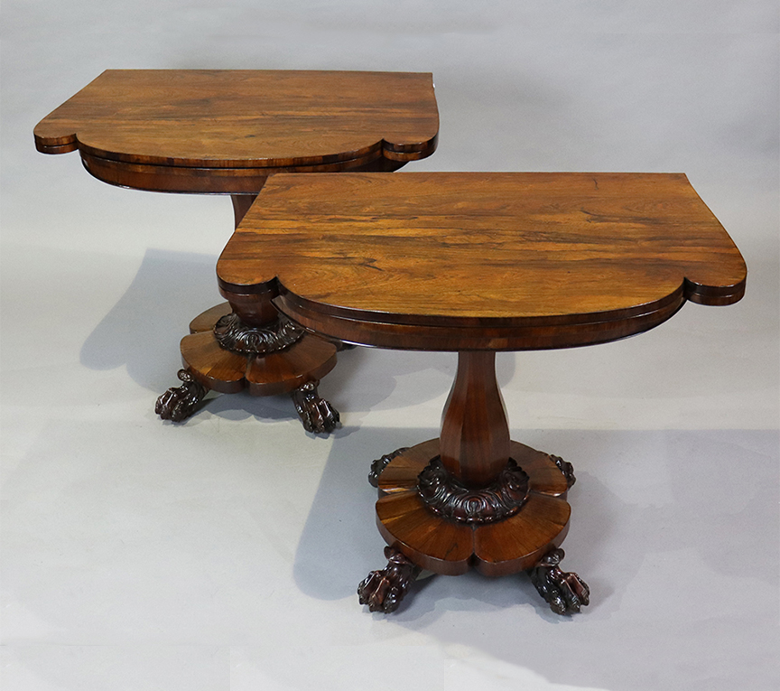 Pair of Irish Rosewood Fold-over Games Tables