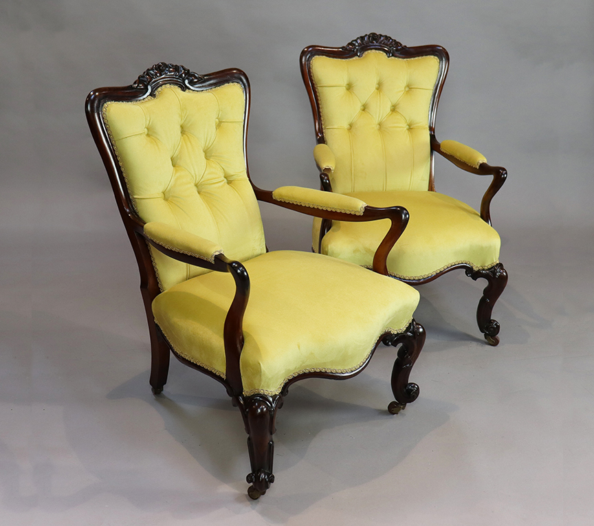 Pair of Victorian Rosewood Armchairs