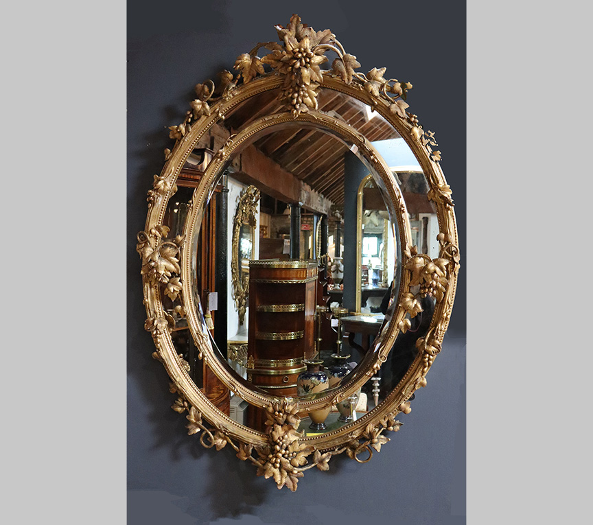 Victorian Oval Wall Mirror with Bevelled Glass
