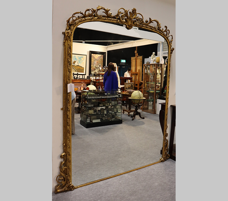 Large Victorian Arch Top Mirror With Foliage Detail